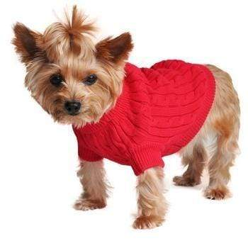 Doggy Stylz Dog-products Apparel Cotton Cable Knit Dog Sweater - Fiery Red