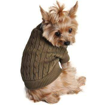Doggy Stylz Dog-products Apparel Cotton Cable Knit Dog Sweater - Herb Green