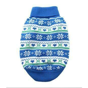 Doggy Stylz Dog-products Apparel Cotton Snowflake and Hearts Dog Sweater - Blue