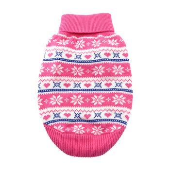 Doggy Stylz Dog-products Apparel Cotton Snowflake and Hearts Dog Sweater - Pink