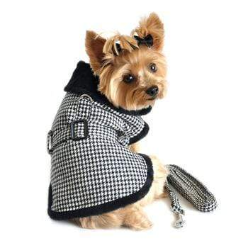 Doggy Stylz Dog-products Black and White Classic Houndstooth Dog Harness Coat with Leash