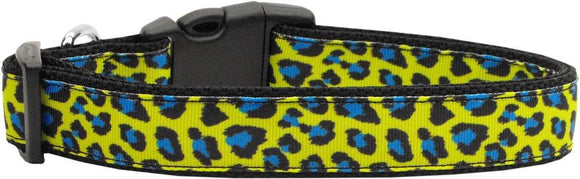 Doggy Stylz Dog-products Collars Blue And Yellow Leopard Nylon Dog Collar Medium Narrow