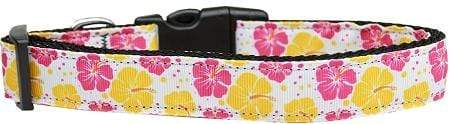 Doggy Stylz Dog-products Collars Pink And Yellow Hibiscus Flower Nylon Cat Collar