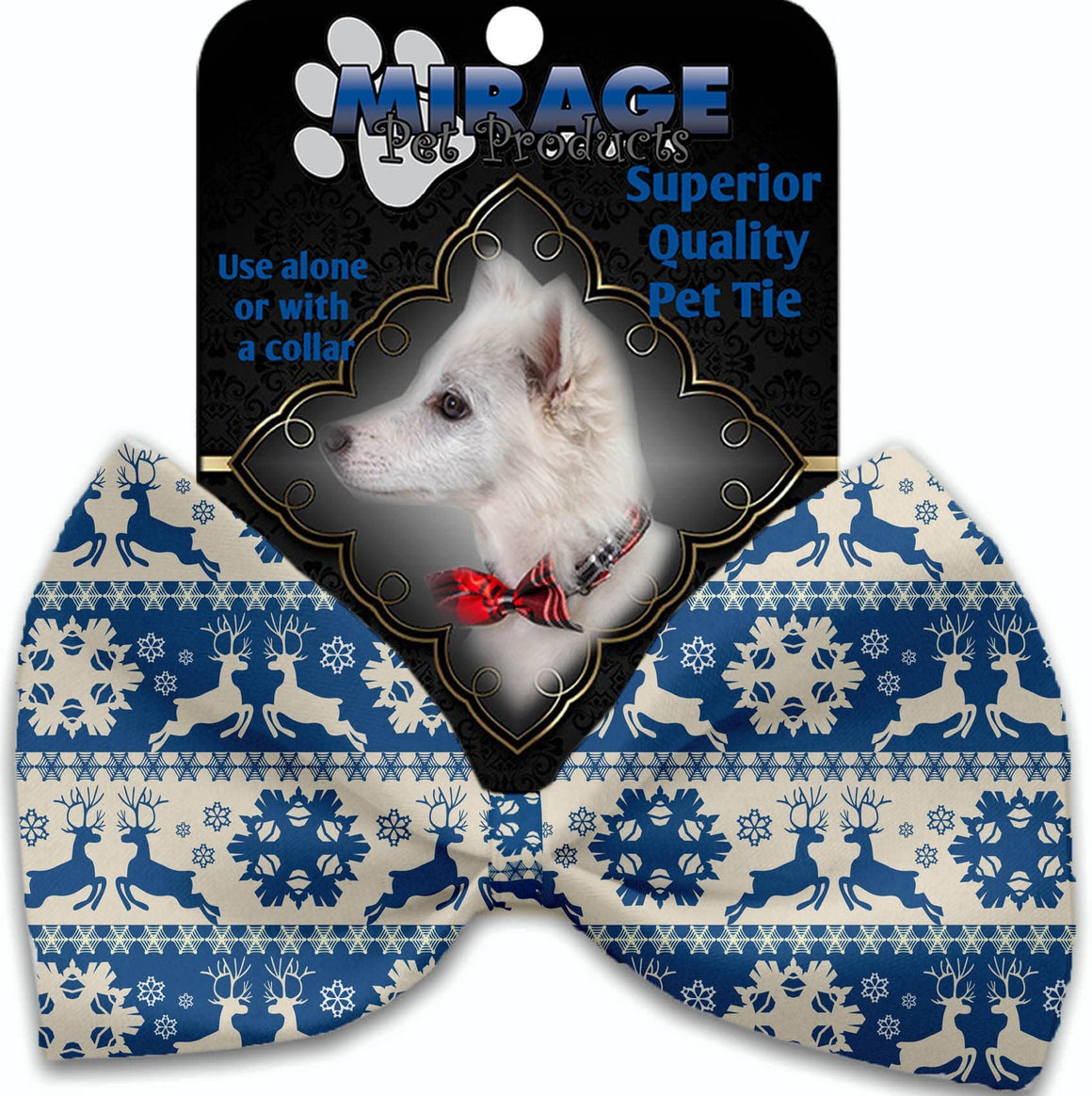Doggy Stylz Dog-products Grooming Blue Reindeer Pet Bow Tie Accessory With Velcro
