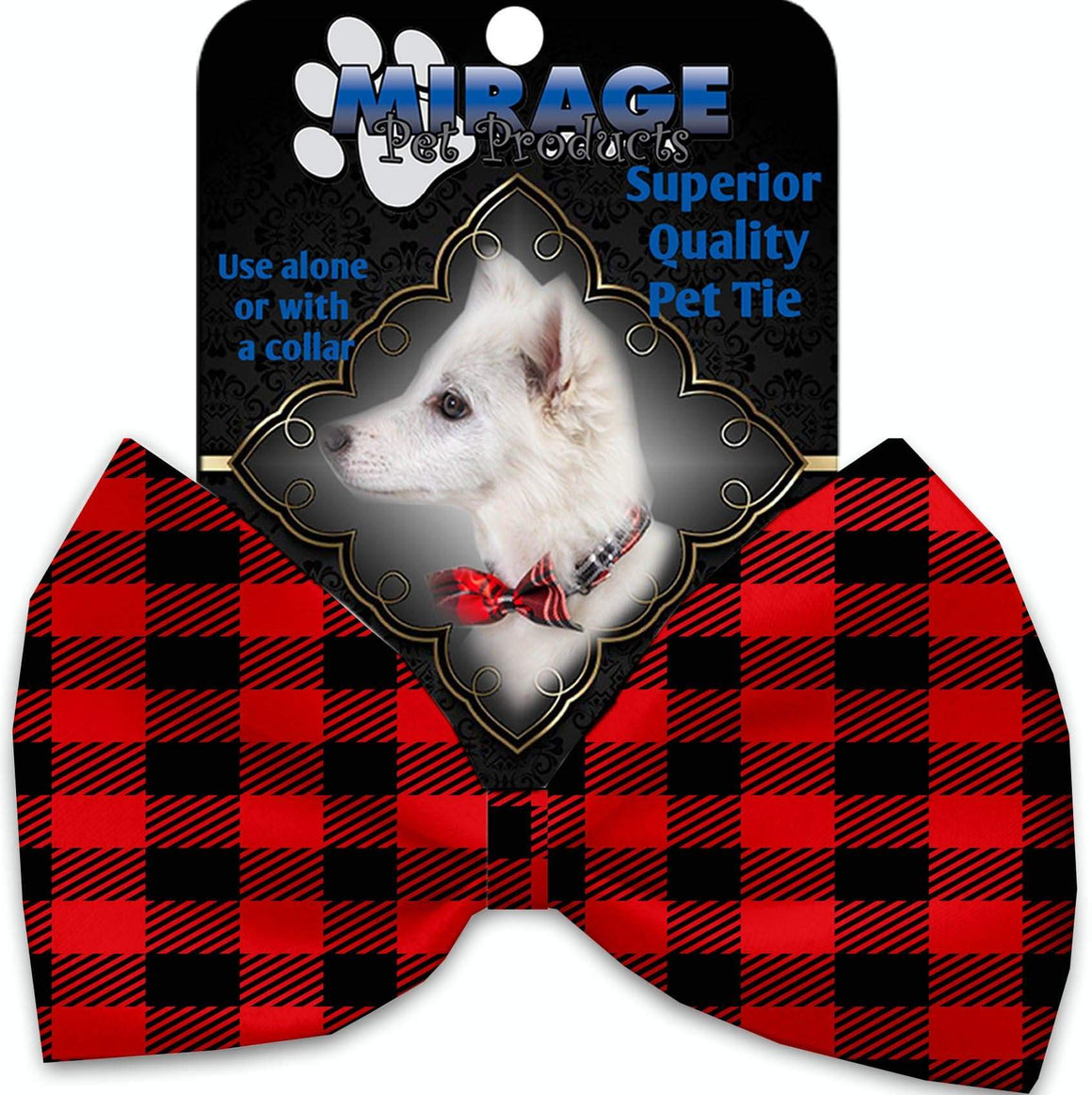 Doggy Stylz Dog-products Grooming Red Buffalo Check Pet Bow Tie Accessory With Velcro