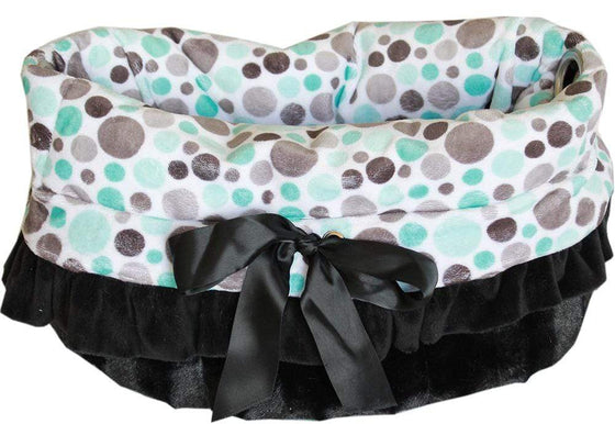 Doggy Stylz Dog-products New! Aqua Party Dots Reversible Snuggle Bugs Pet Bed, Bag, And Car Seat All-in-one