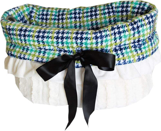 Doggy Stylz Dog-products New! Aqua Plaid Reversible Snuggle Bugs Pet Bed, Bag, And Car Seat All-in-one