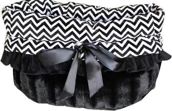Doggy Stylz Dog-products New! Black Chevron Reversible Snuggle Bugs Pet Bed, Bag, And Car Seat All-in-one