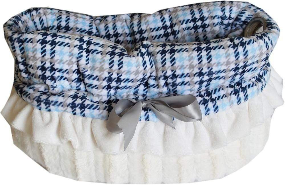 Doggy Stylz Dog-products New! Blue Plaid Reversible Snuggle Bugs Pet Bed, Bag, And Car Seat All-in-one
