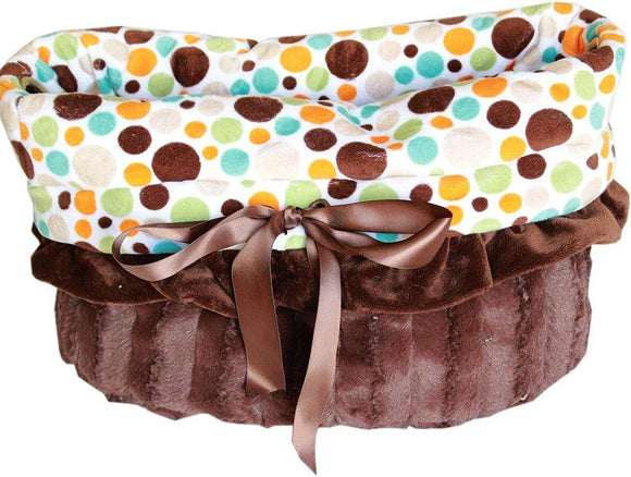 Doggy Stylz Dog-products New! Fall Party Dots Reversible Snuggle Bugs Pet Bed, Bag, And Car Seat All-in-one