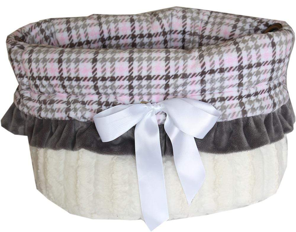Doggy Stylz Dog-products New! Pink Plaid Reversible Snuggle Bugs Pet Bed, Bag, And Car Seat All-in-one