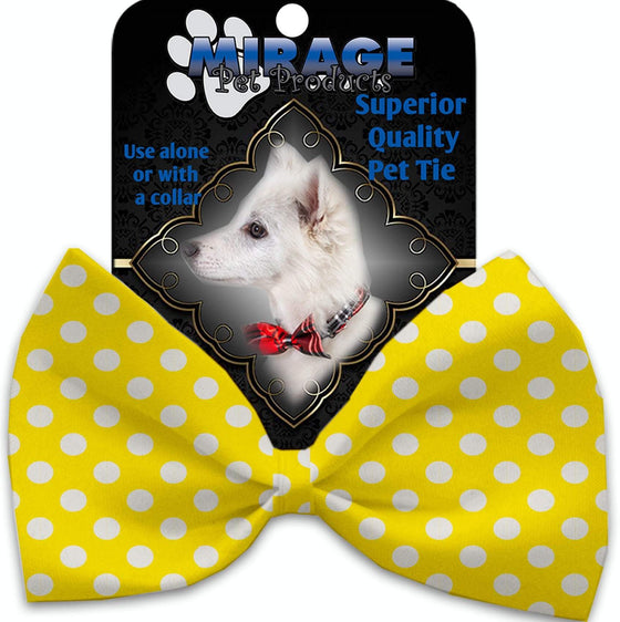 Doggy Stylz Dog-products New Sunny Yellow Swiss Dots Pet Bow Tie