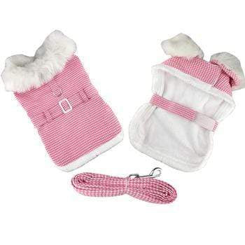 Doggy Stylz Dog-products Pink Houndstooth and White Fur Collar Harness Coat