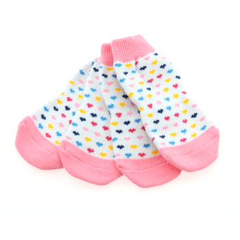 Doggy Stylz Dog-products shop Non-Skid Dog Socks - Pink and White Hearts