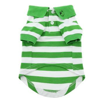 Doggy Stylz Dog-products Striped Dog Polo - Greenery and White
