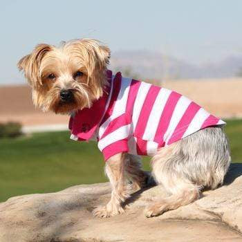 Doggy Stylz Dog-products Striped Dog Polo - Pink Yarrow and White