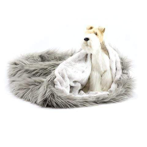Doggy Stylz Dog-products Taupe Shag with Platinum Snow Cuddle Cup