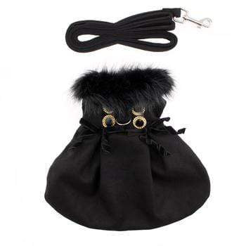 Doggy Stylz Dog-products Wool Fur-Trimmed Dog Harness Coat by Doggie Design - Black