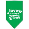 Doggy Stylz Dog-products New Pet Products Emerald Green / Small Love Is A Four Leg Word Screen Print Bandana
