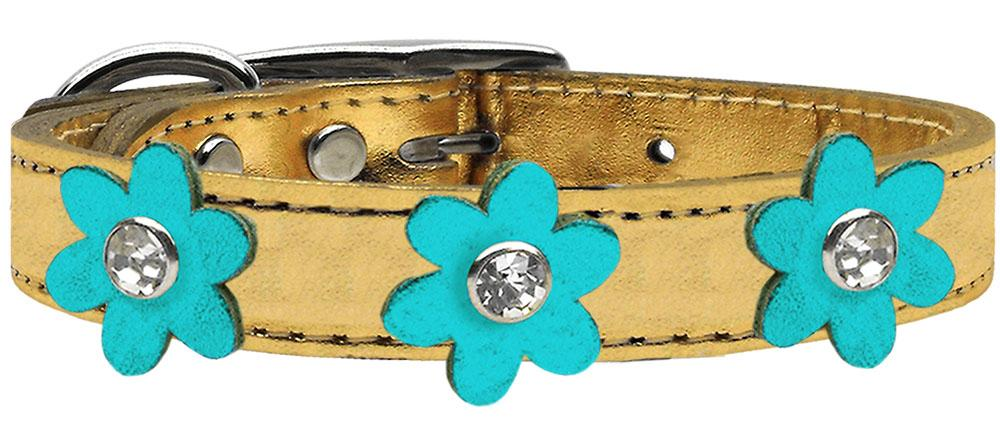 Doggy Stylz Dog-products New! Gold With Metallic Turquoise Flowers / 24 Metallic Flower Leather Collar Gold With Metallic Flowers Size