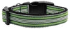 Doggy Stylz Dog-products Dog Collars And Leashes Green/white / Large Preppy Stripes Nylon Ribbon Collars