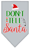 Doggy Stylz Dog-products New Grey / Small Don't Tell Santa Screen Print Bandana