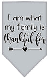 Doggy Stylz Dog-products New Grey / Small I Am What My Family Is Thankful For Screen Print Bandana