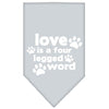 Doggy Stylz Dog-products New Pet Products Grey / Small Love Is A Four Leg Word Screen Print Bandana