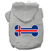 Doggy Stylz Dog-products Pet Apparel Grey / XXXL Bone Shaped Iceland Flag Screen Print Pet Hoodies