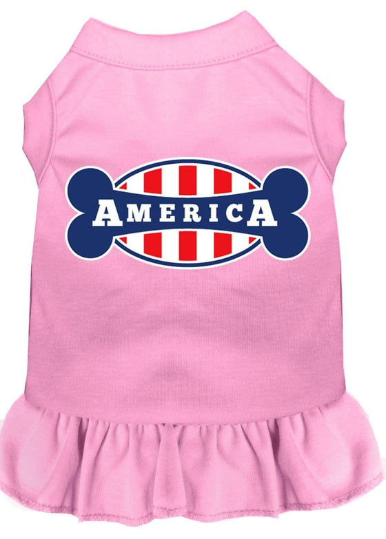 Doggy Stylz Dog-products Apparel Light Pink / 4x (22) Bonely In America Screen Print Dress Light Pink