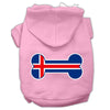 Doggy Stylz Dog-products Pet Apparel Light Pink / Extra Large Bone Shaped Iceland Flag Screen Print Pet Hoodies