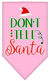 Doggy Stylz Dog-products New Light Pink / Large Don't Tell Santa Screen Print Bandana