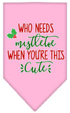 Doggy Stylz Dog-products New Light Pink / Small Who Needs Mistletoe Screen Print Bandana
