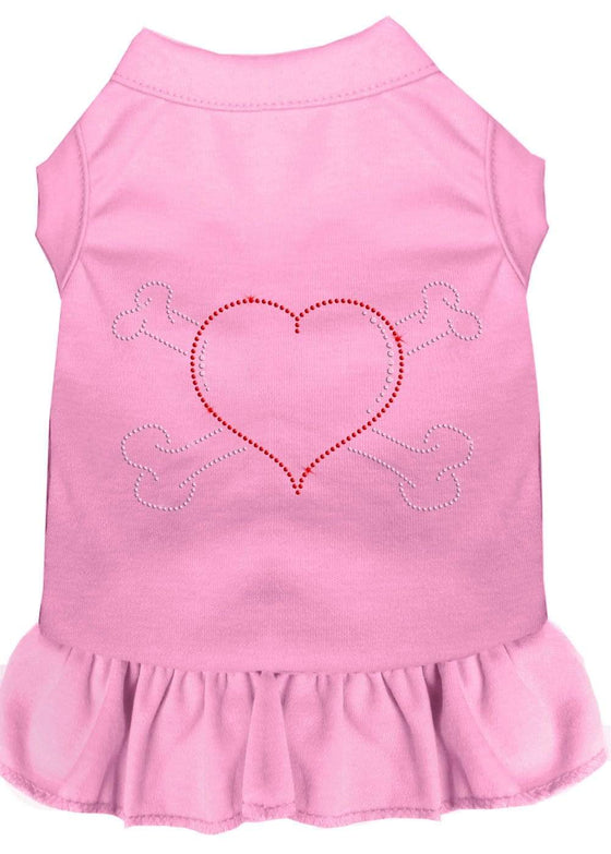 Doggy Stylz Dog-products Apparel Light Pink / Xs (8) Rhinestone Heart And Crossbones Dress Light Pink
