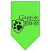 Doggy Stylz Dog-products General Lime Green / Large Game Of Bones Screen Print Bandana