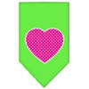 Doggy Stylz Dog-products New Pet Products Lime Green / Large Pink Swiss Dot Heart Screen Print Bandana
