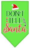 Doggy Stylz Dog-products New Lime Green / Small Don't Tell Santa Screen Print Bandana