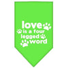 Doggy Stylz Dog-products New Pet Products Lime Green / Small Love Is A Four Leg Word Screen Print Bandana
