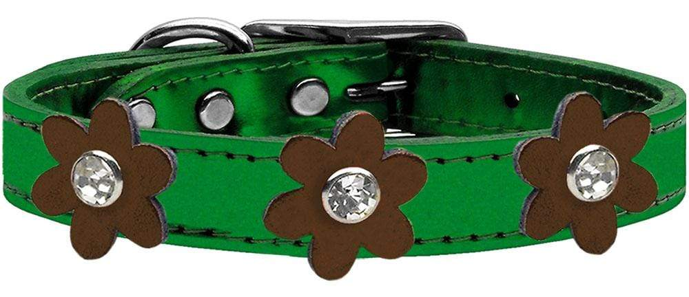 Doggy Stylz Dog-products New! Metallic Emerald Green With Bronze Flowers / 24 Metallic Flower Leather Collar Metallic Emerald Green With Metallic Flowers Size