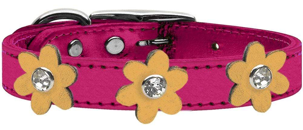 Doggy Stylz Dog-products New! Metallic Pink With Gold Flowers / 26 Metallic Flower Leather Collar Metallic Pink With Metallic Flowers Size