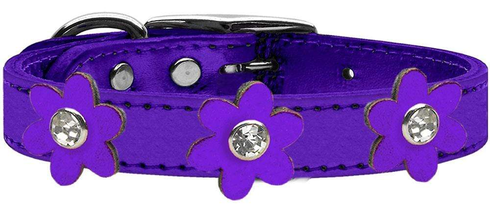 Doggy Stylz Dog-products New! Metallic Purple With Metallic Purple Flowers / 10 Metallic Flower Leather Collar Metallic Purple With Metallic Flowers Size