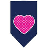 Doggy Stylz Dog-products New Pet Products Navy Blue / Large Pink Swiss Dot Heart Screen Print Bandana