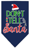 Doggy Stylz Dog-products New Navy Blue / Small Don't Tell Santa Screen Print Bandana