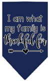 Doggy Stylz Dog-products New Navy Blue / Small I Am What My Family Is Thankful For Screen Print Bandana