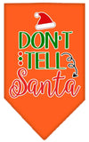 Doggy Stylz Dog-products New Orange / Small Don't Tell Santa Screen Print Bandana