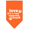 Doggy Stylz Dog-products New Pet Products Orange / Small Love Is A Four Leg Word Screen Print Bandana