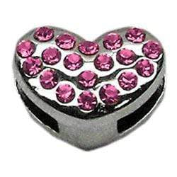 "Doggy Stylz Dog-products Pet Charms Pink 3/8"" Slider Puffy Heart Charm"