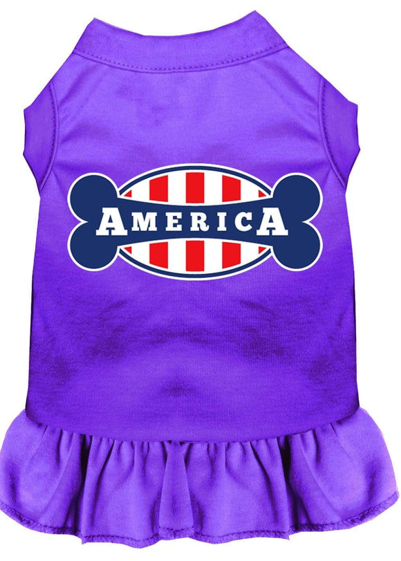 Doggy Stylz Dog-products Apparel Purple / 4x (22) Bonely In America Screen Print Dress Purple