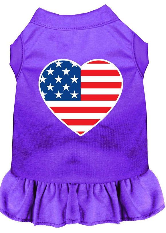 Doggy Stylz Dog-products Apparel Purple / SMALL American Flag Heart Screen Print Dress Purple
