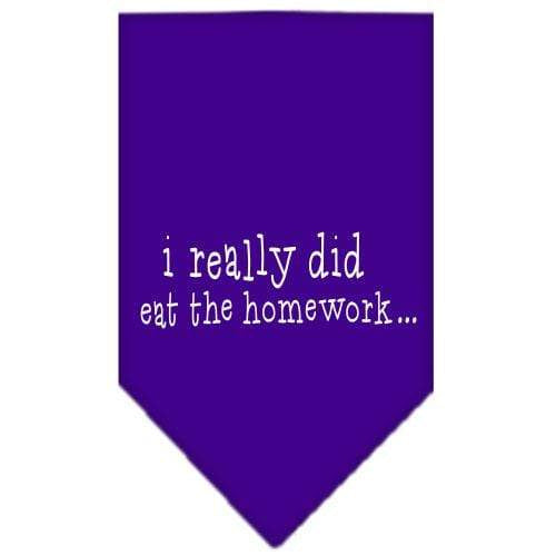 Doggy Stylz Dog-products Dog Bandanas Purple / Small I Really Did Eat The Homework Screen Print Bandana